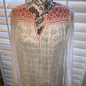 Max Studio Size Small Boho embroidered sheer top